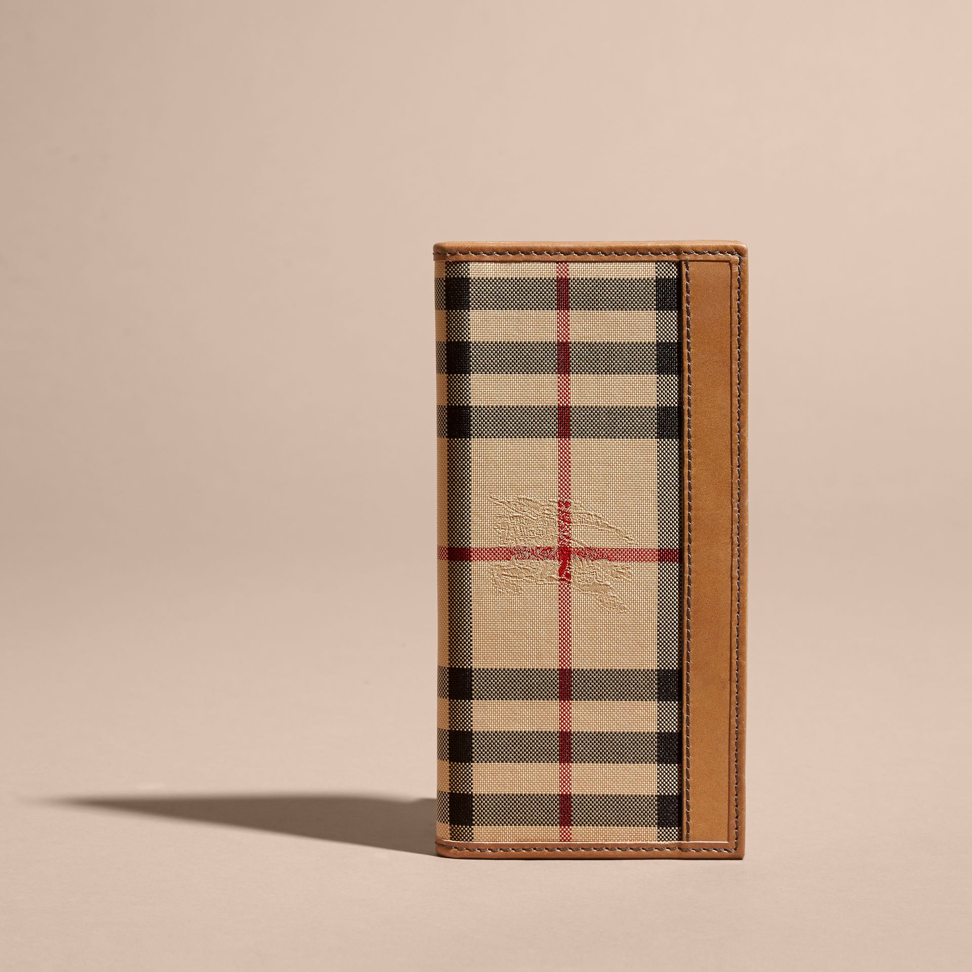 Small Horseferry Check Currency Wallet in Tan - Men | Burberry United Kingdom - gallery image 5