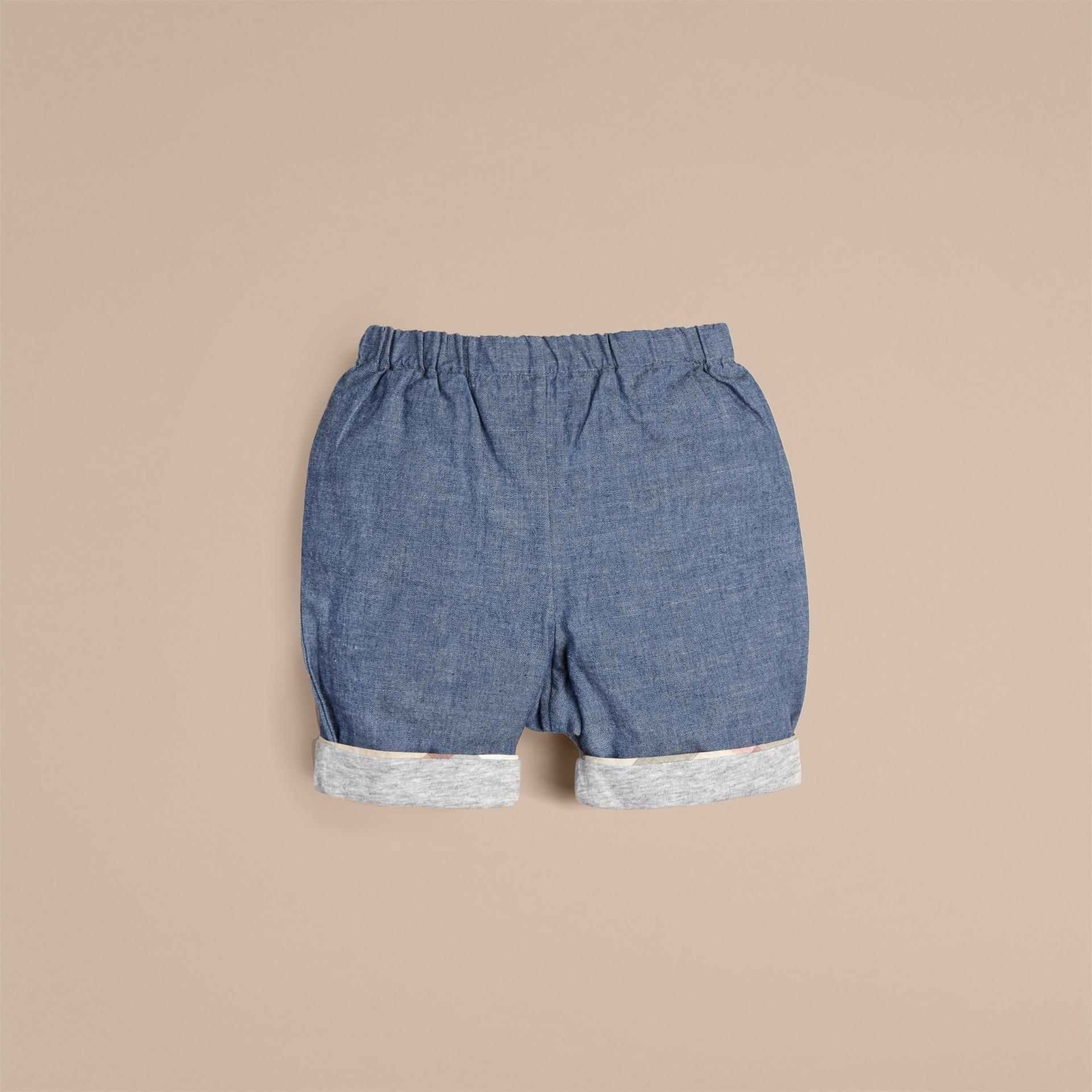 Bleu pierre Short en coton - photo de la galerie 1