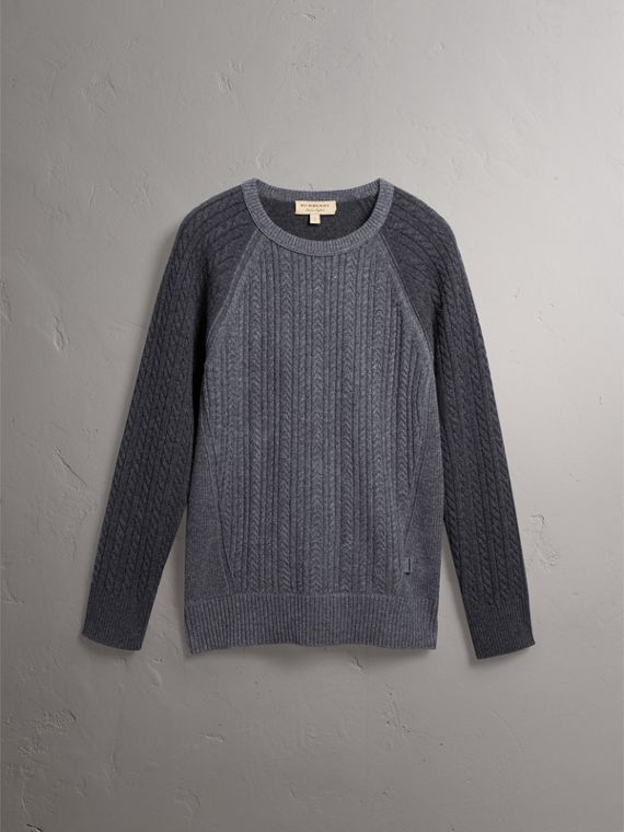 Two-tone Cable Knit Cashmere Sweater in Charcoal - Men | Burberry Canada - cell image 3