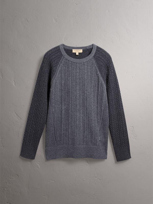 Two-tone Cable Knit Cashmere Sweater in Charcoal - Men | Burberry - cell image 3