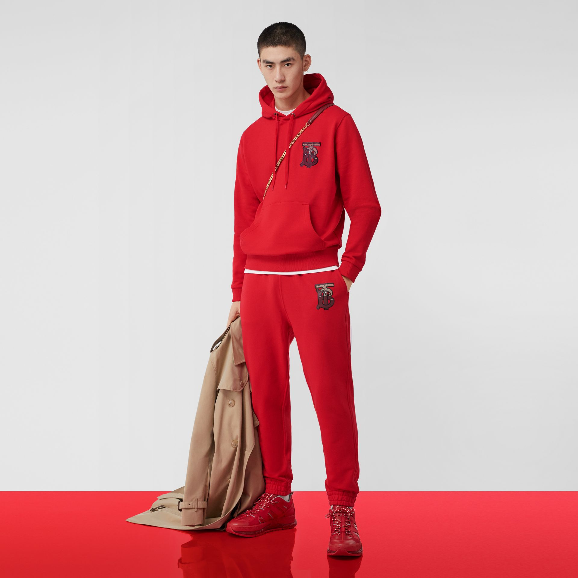 Monogram Motif Cotton Oversized Hoodie in Bright Red - Men | Burberry United Kingdom - gallery image 4