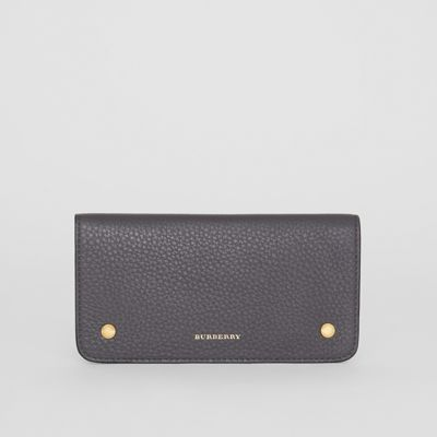 Leather Phone Wallet in Charcoal Grey