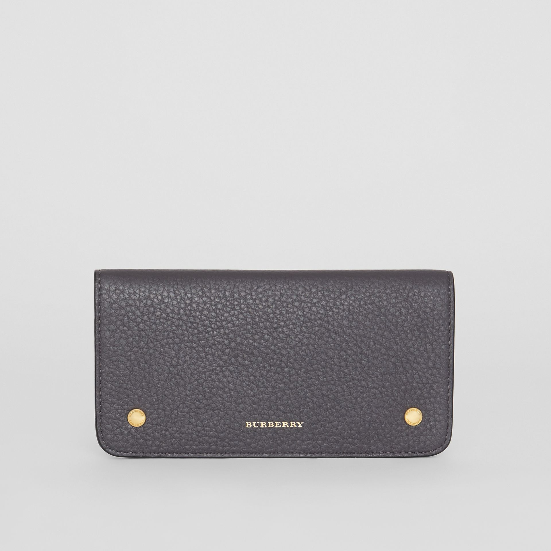 Leather Phone Wallet in Charcoal Grey - Women | Burberry - gallery image 0