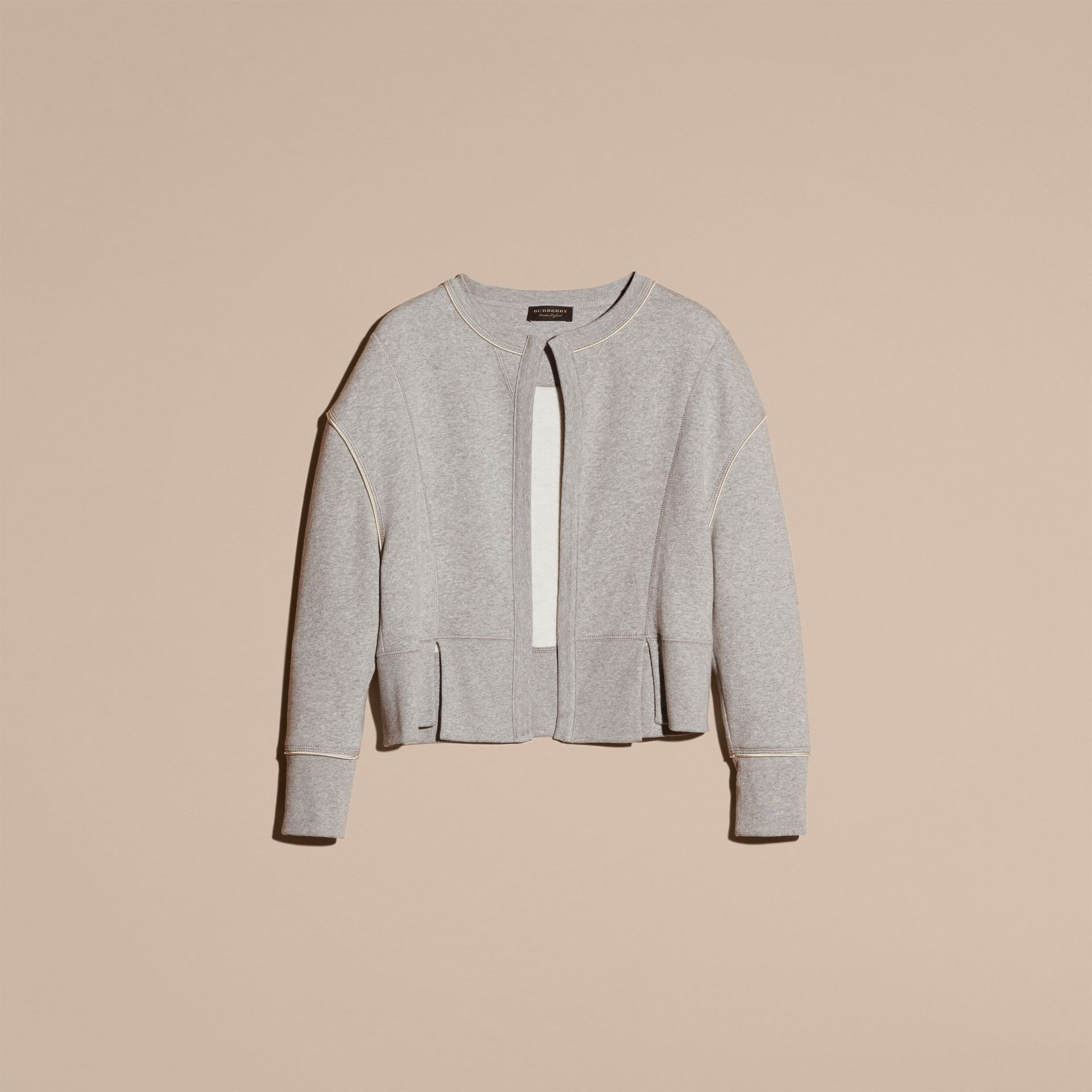Pale grey melange Cotton Blend Sweatshirt Jacket - gallery image 4