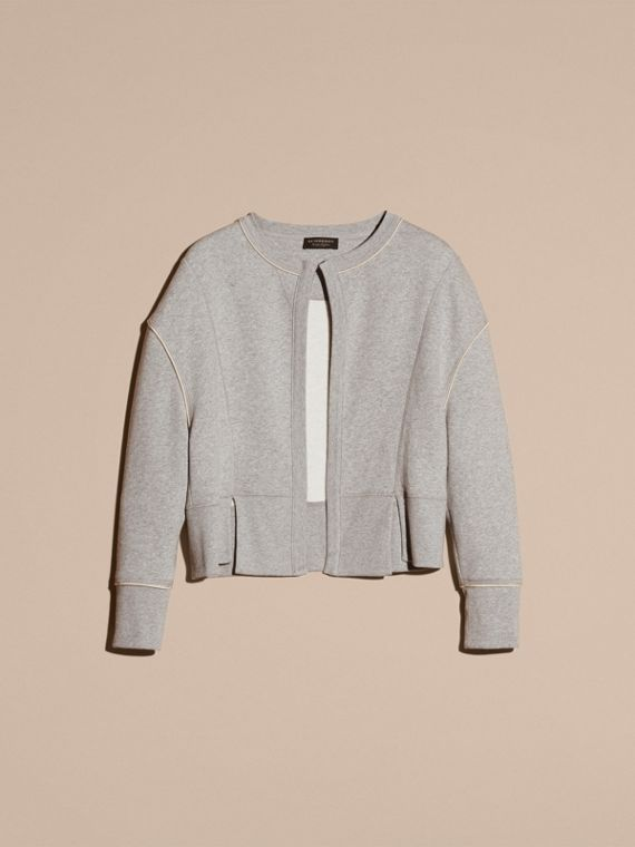 Pale grey melange Cotton Blend Sweatshirt Jacket - cell image 3