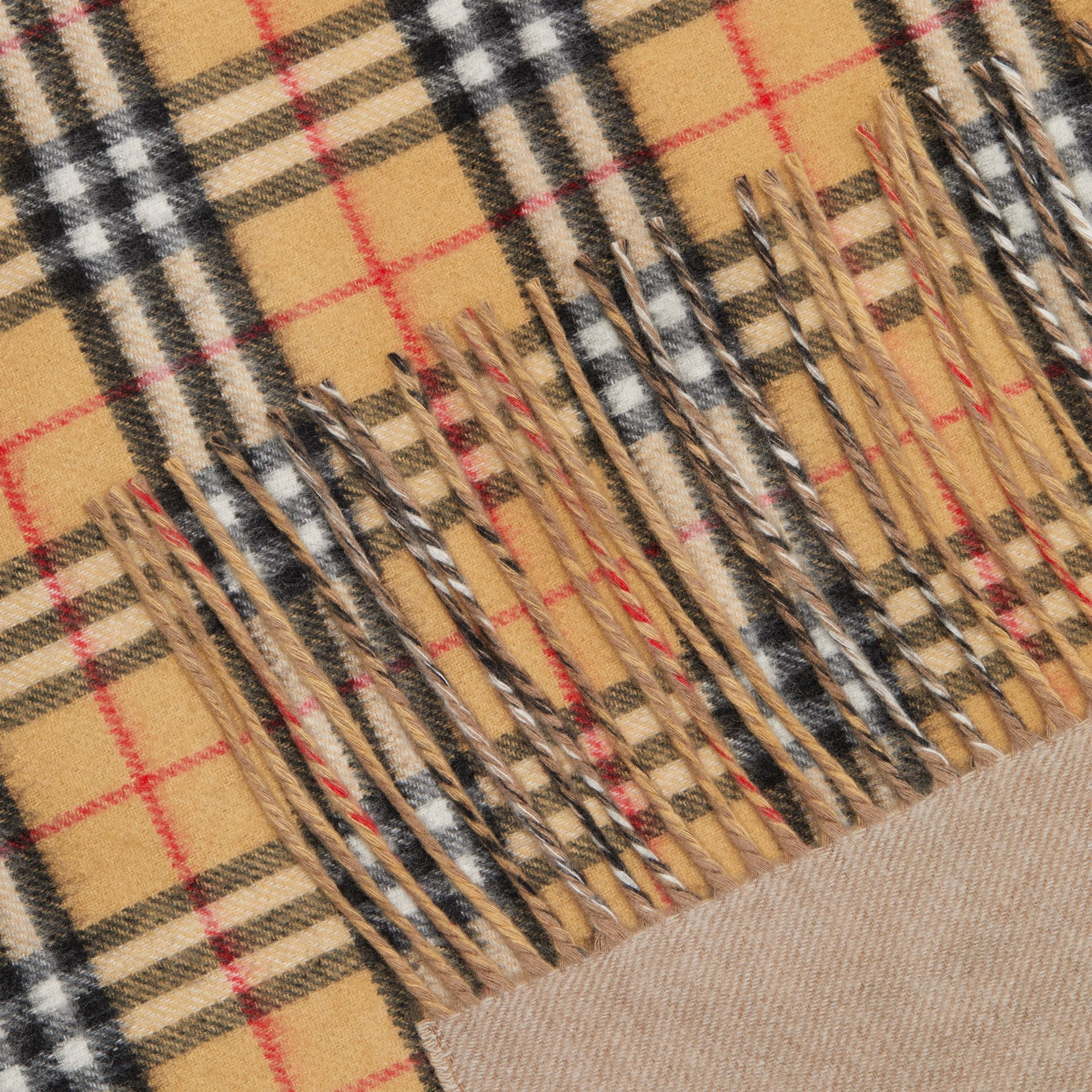The Burberry Bandana in Vintage Check Cashmere in Sandstone | Burberry Australia - gallery image 1