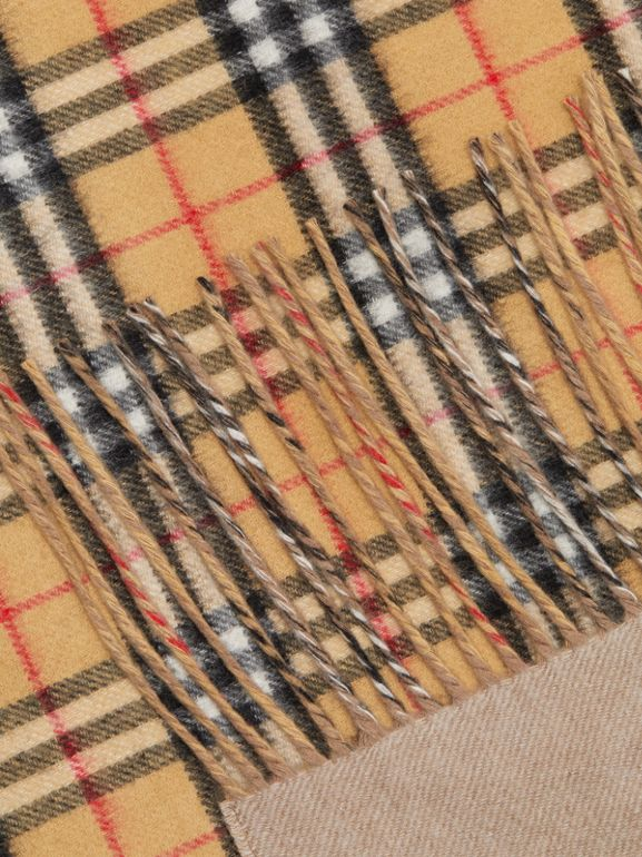 The Burberry Bandana in Vintage Check Cashmere in Sandstone | Burberry Australia - cell image 1