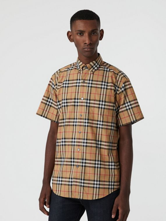 Short-sleeve Vintage Check Shirt in Antique Yellow
