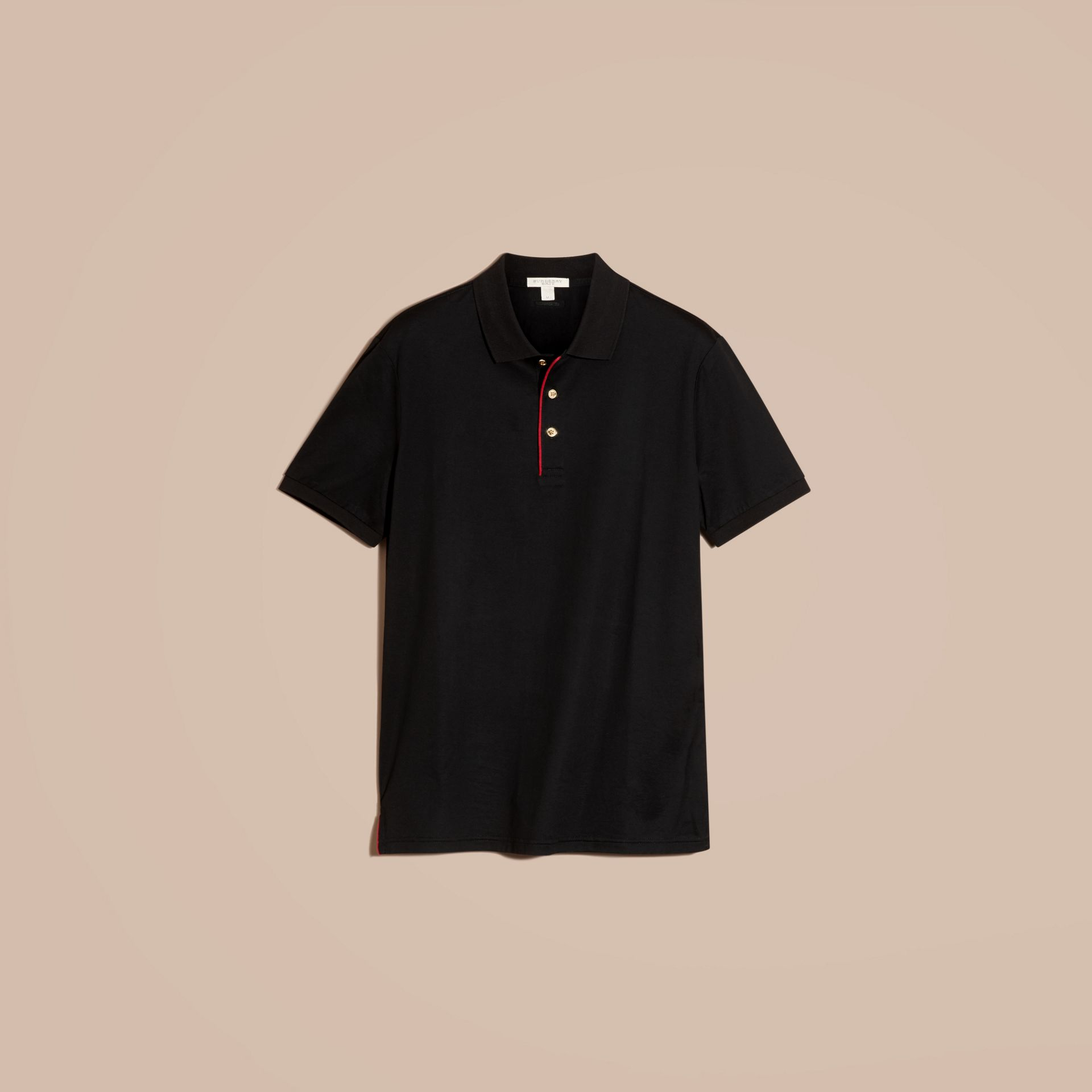 Black Regimental Cotton Polo Shirt Black - gallery image 4