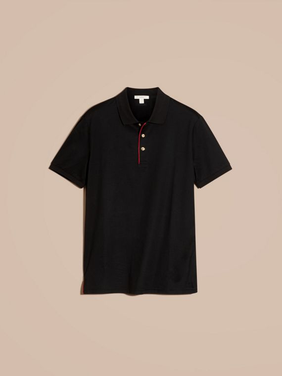 Black Regimental Cotton Polo Shirt Black - cell image 3
