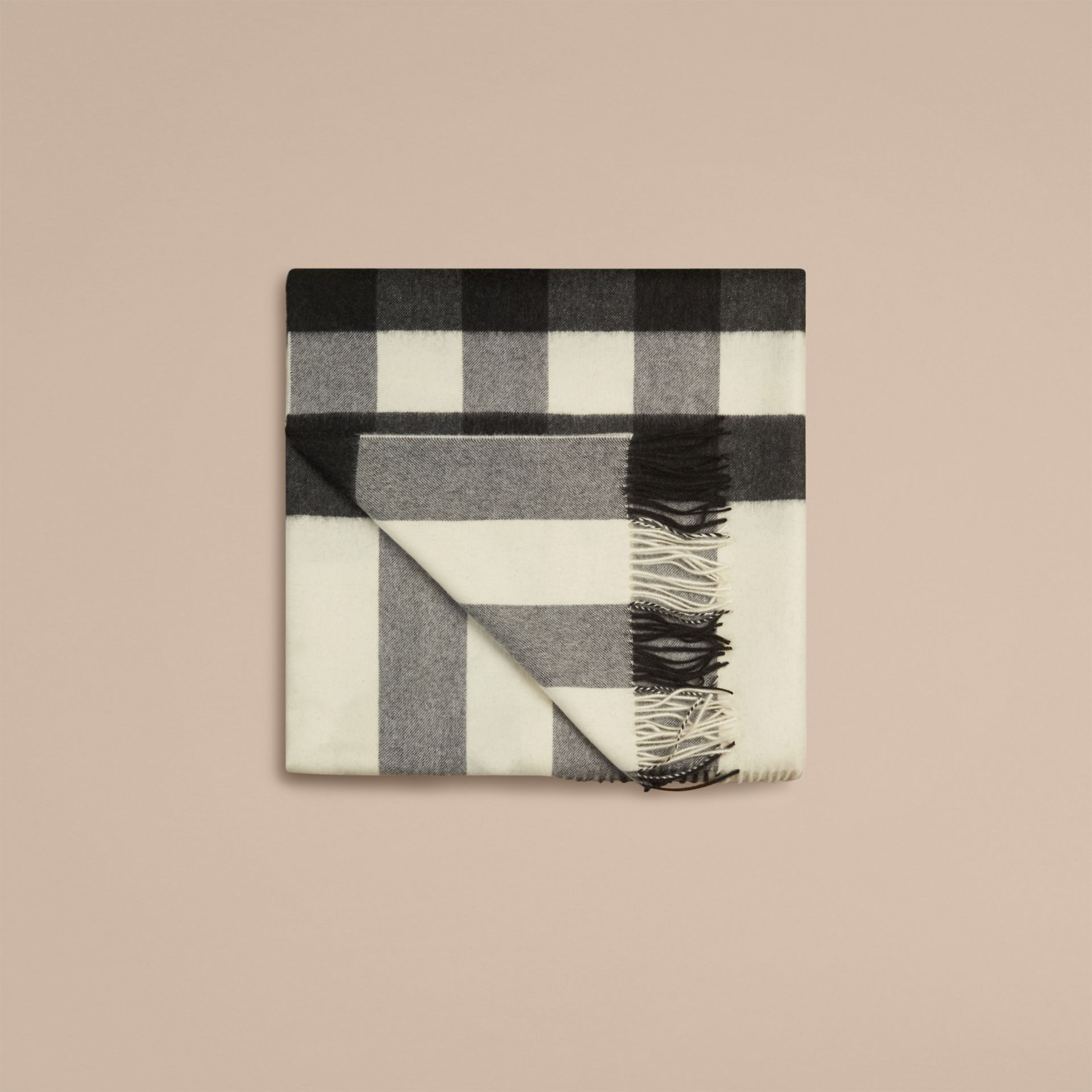 Natural white Check Cashmere Blanket Natural White - gallery image 4