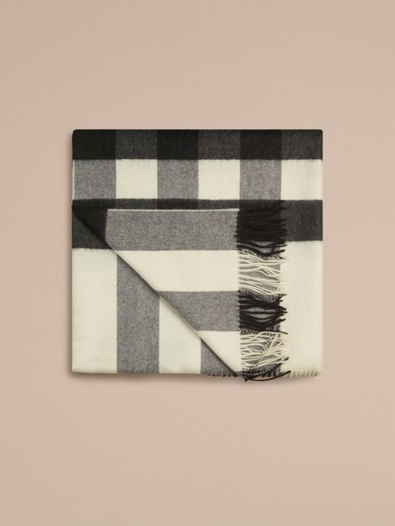 Check Cashmere Blanket in Natural White | Burberry - cell image 3