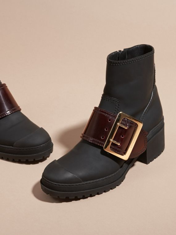 The Buckle Boot in Rubberised Leather - cell image 2