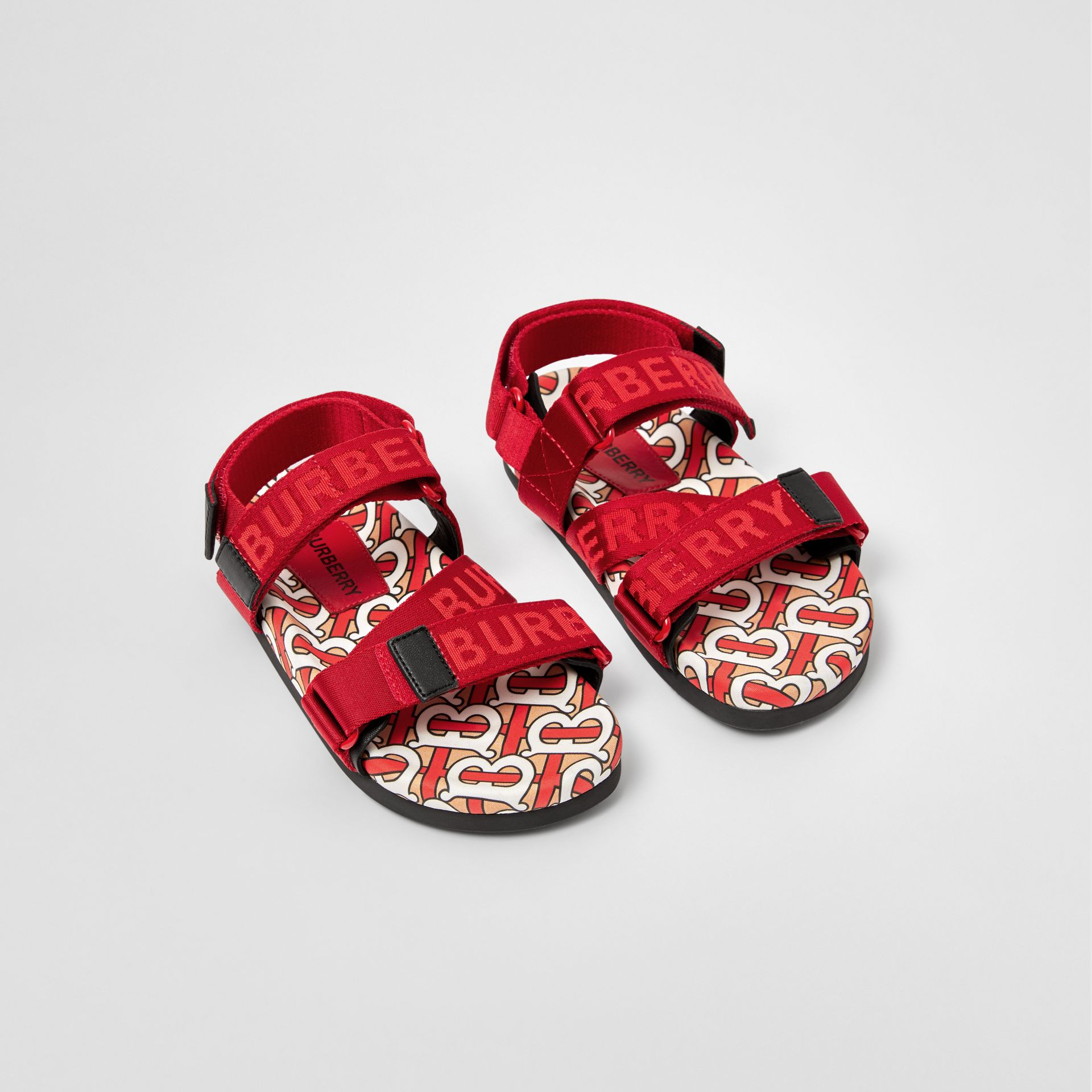 Monogram Print Cotton Gabardine Sandals in Bright Red - Children | Burberry Hong Kong S.A.R - gallery image 0