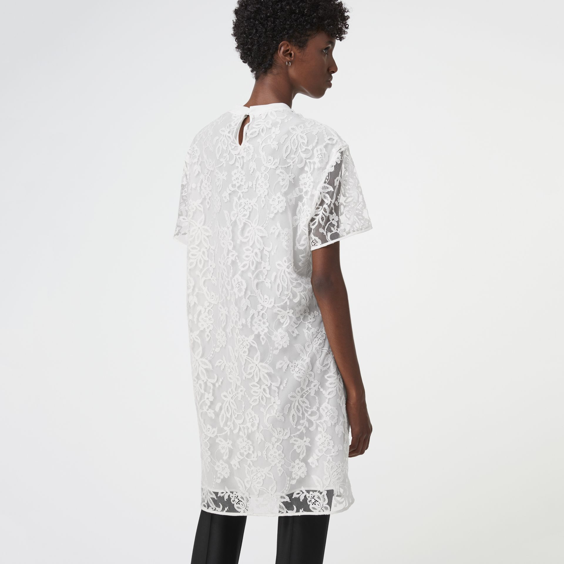 Embroidered Archive Logo Lace Dress in Natural White - Women | Burberry United States - gallery image 2