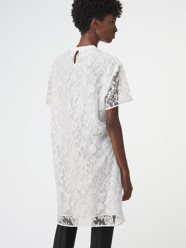Embroidered Archive Logo Lace Dress in Natural White - Women | Burberry - cell image 2
