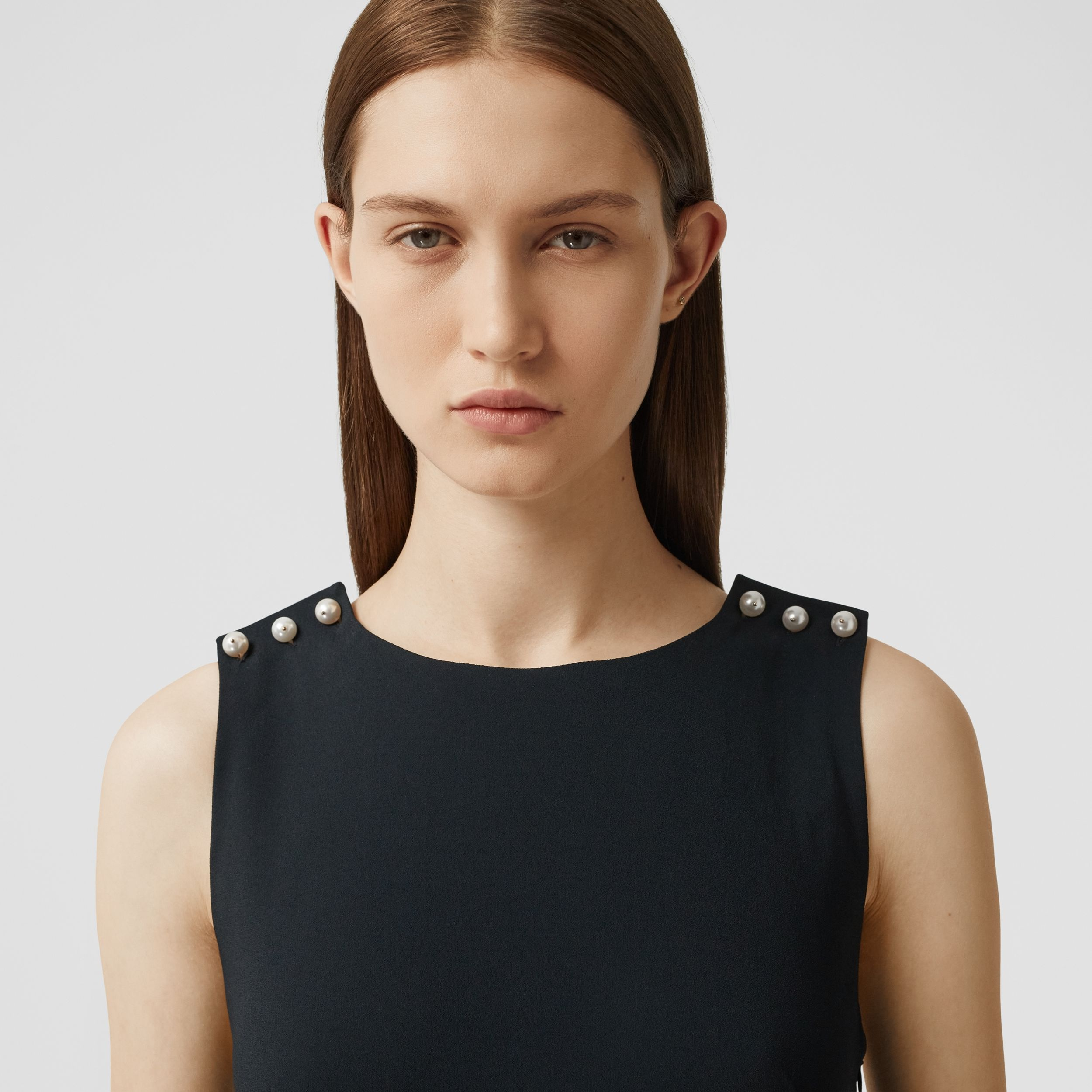 Glass Pearl Detail Satin Crepe Shift Dress in Black - Women | Burberry - 2