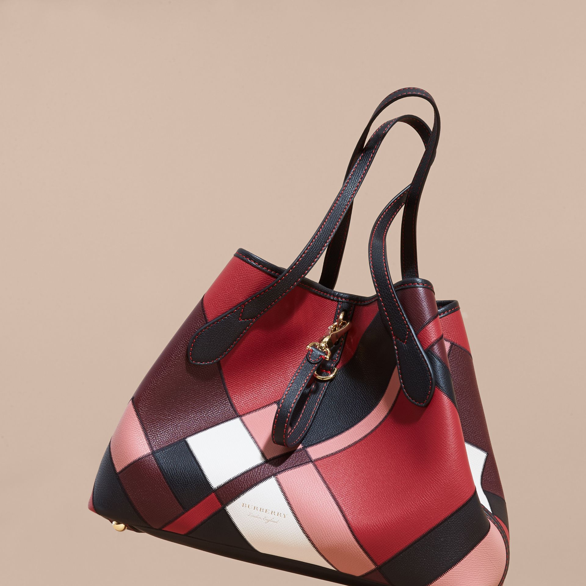 Medium Patchwork Grainy Leather Tote Bag in Pink - Women | Burberry - gallery image 7