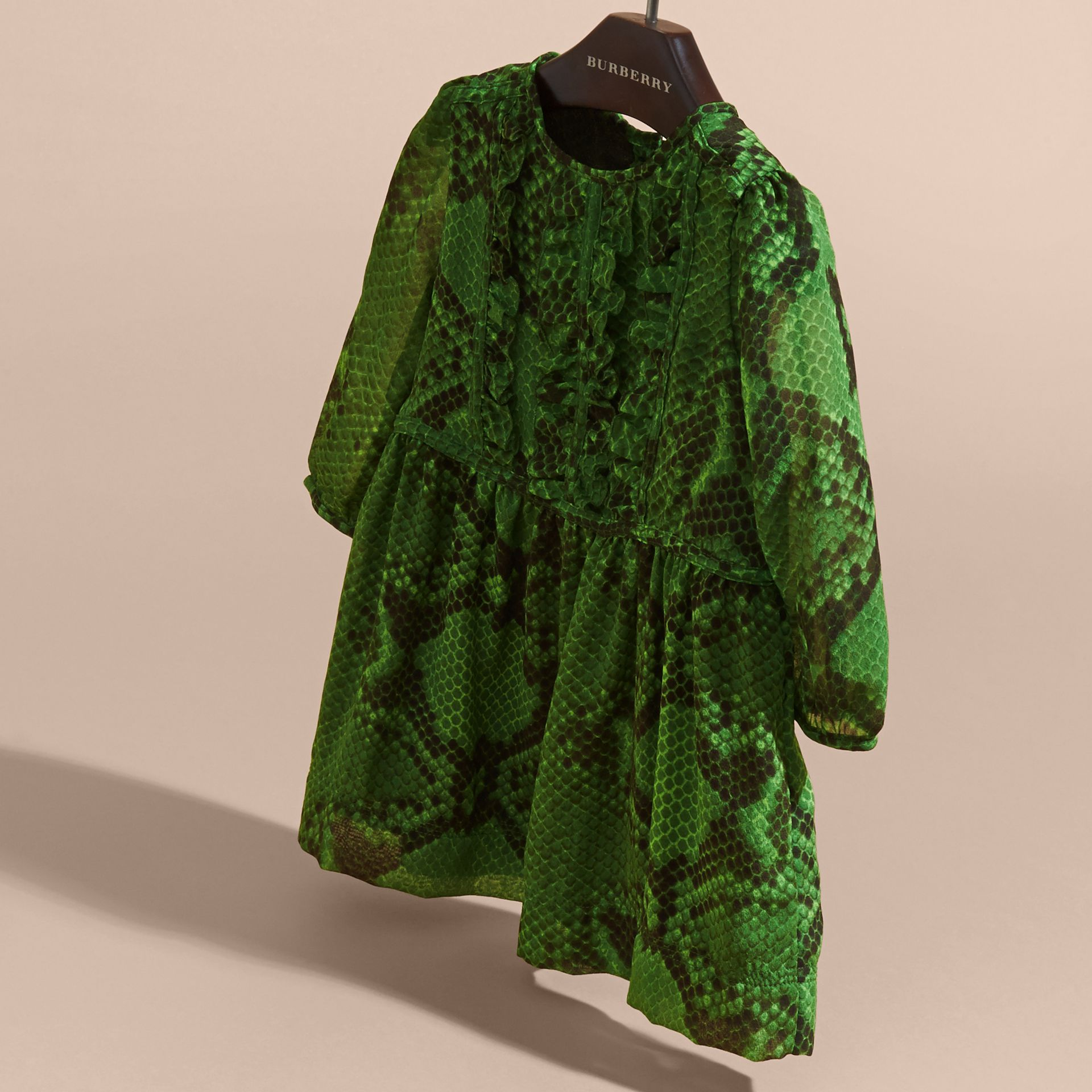 Bright green Python Print Ruffle-bib Silk Dress - gallery image 3