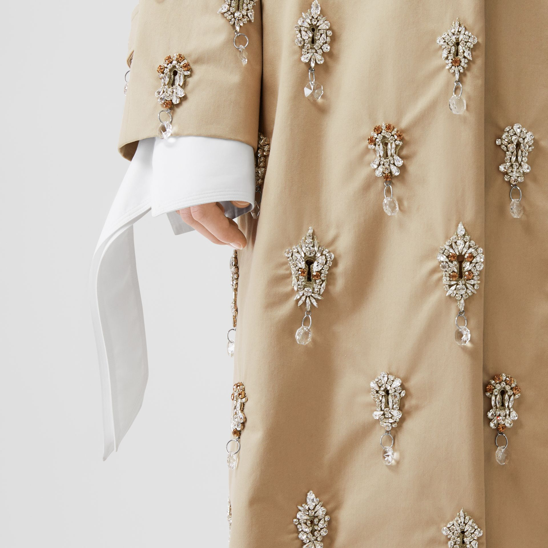 Embellished Cotton Twill Car Coat in Soft Fawn - Women | Burberry - gallery image 4
