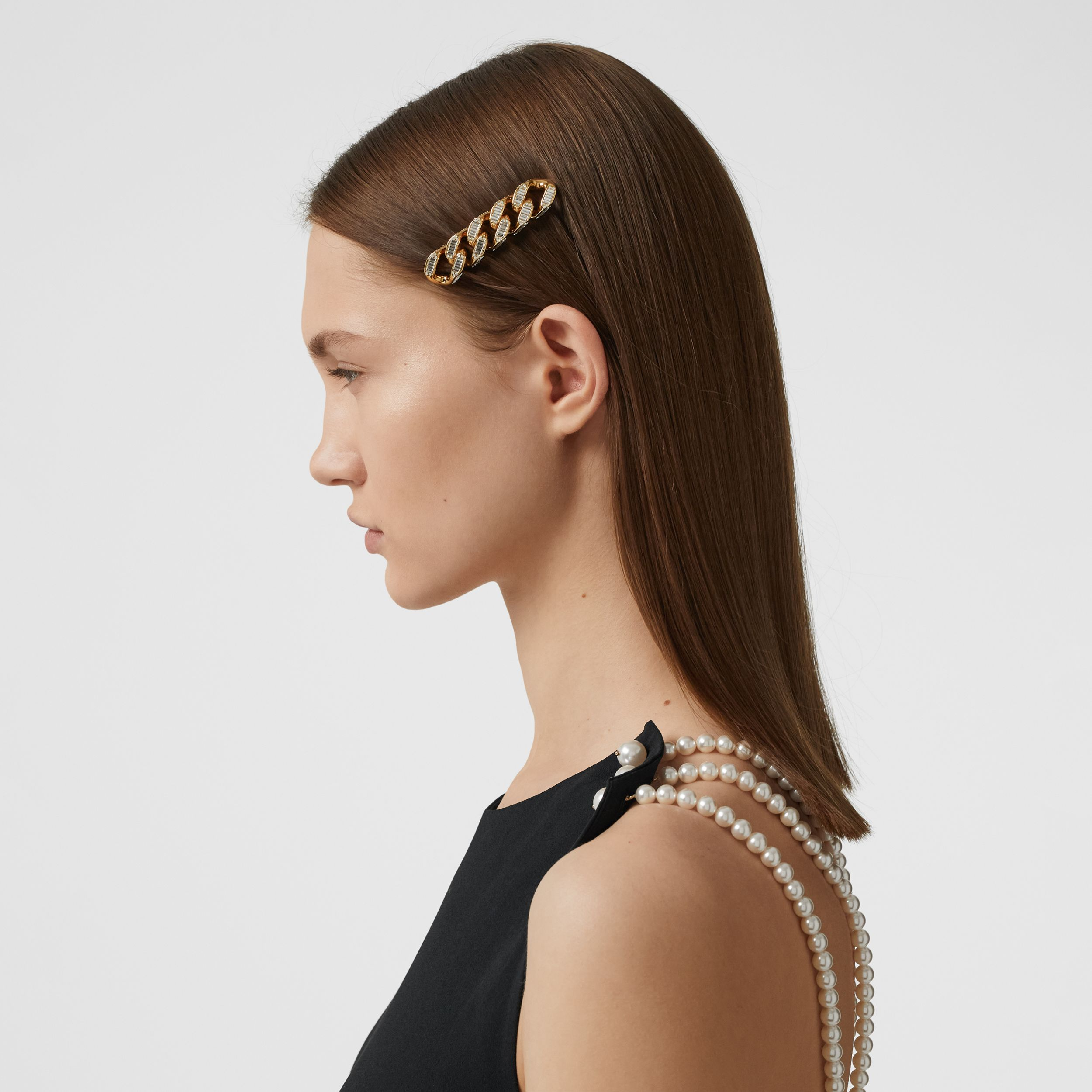 Crystal Gold-plated Chain-link Hair Clip in Light - Women | Burberry - 3