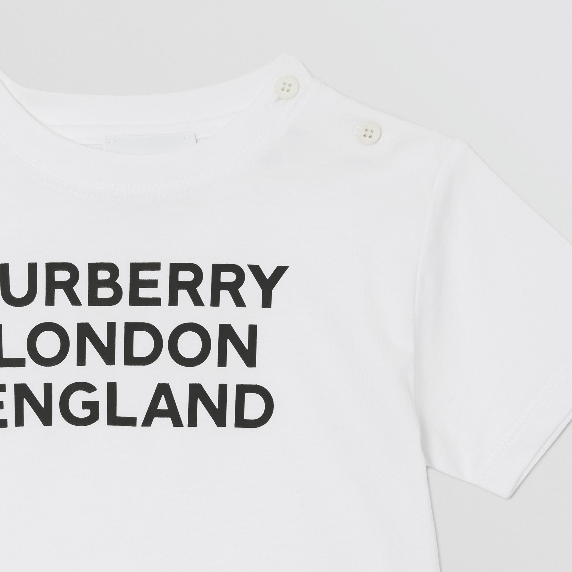 Logo Print Cotton T-shirt in White - Children | Burberry United Kingdom - gallery image 5