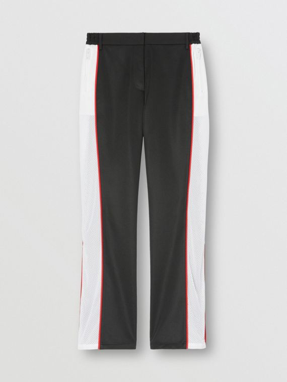 Mesh Stripe Jersey Tailored Trousers in Black