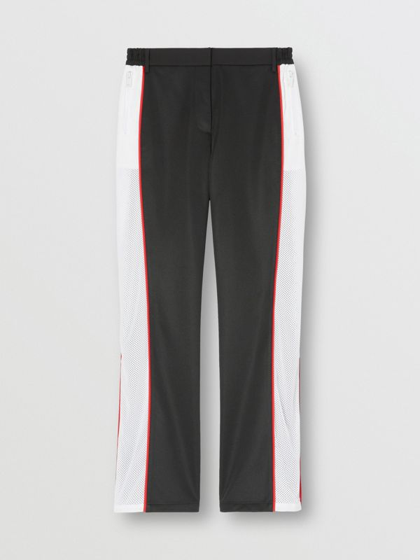 Mesh Stripe Jersey Tailored Trousers in Black - Women | Burberry - cell image 3