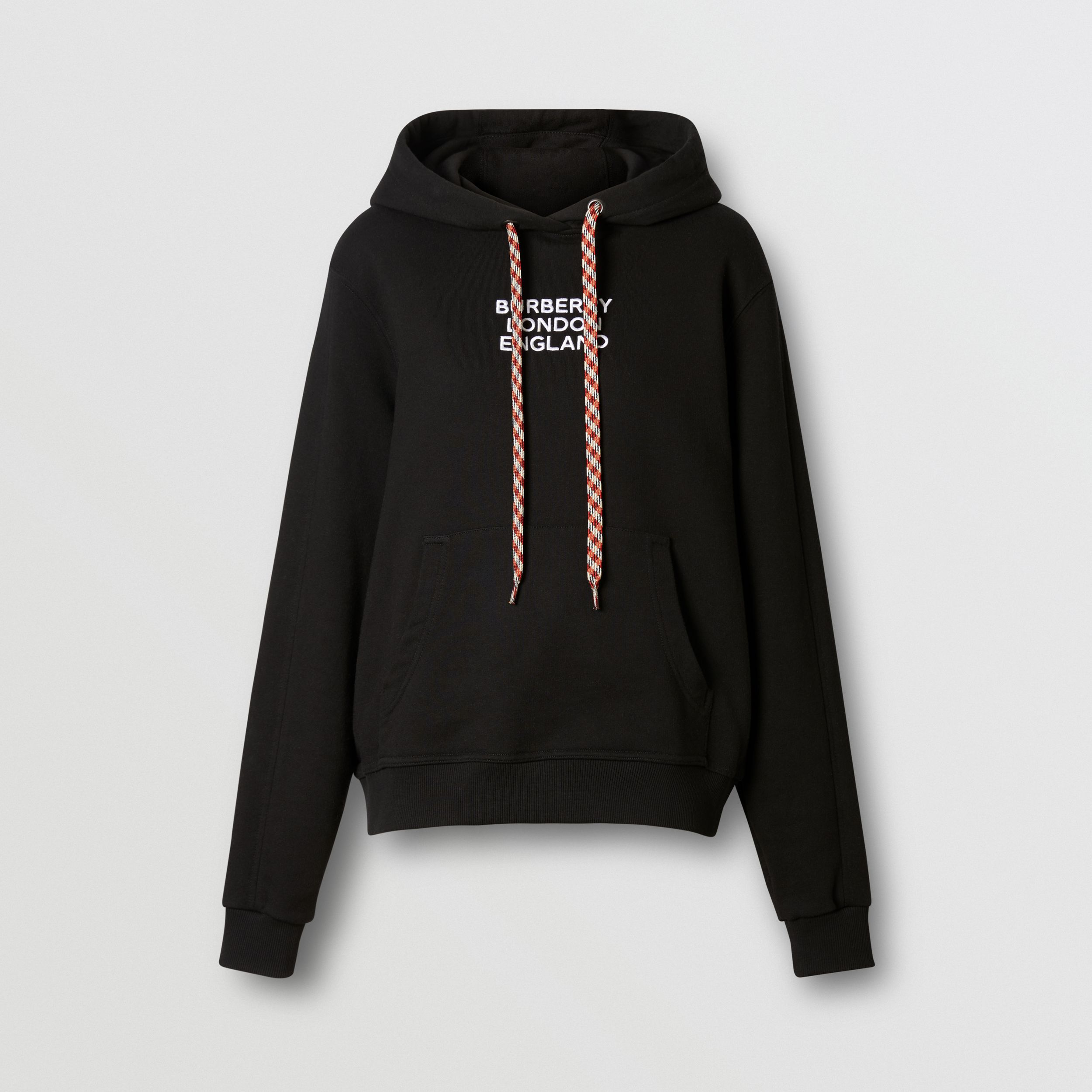 Embroidered Logo Cotton Oversized Hoodie in Black - Women | Burberry - 4