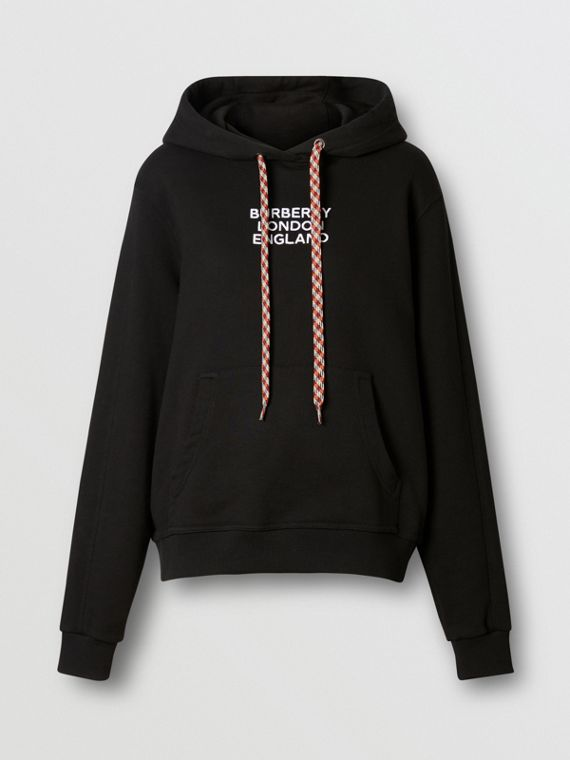 Embroidered Logo Cotton Oversized Hoodie in Black