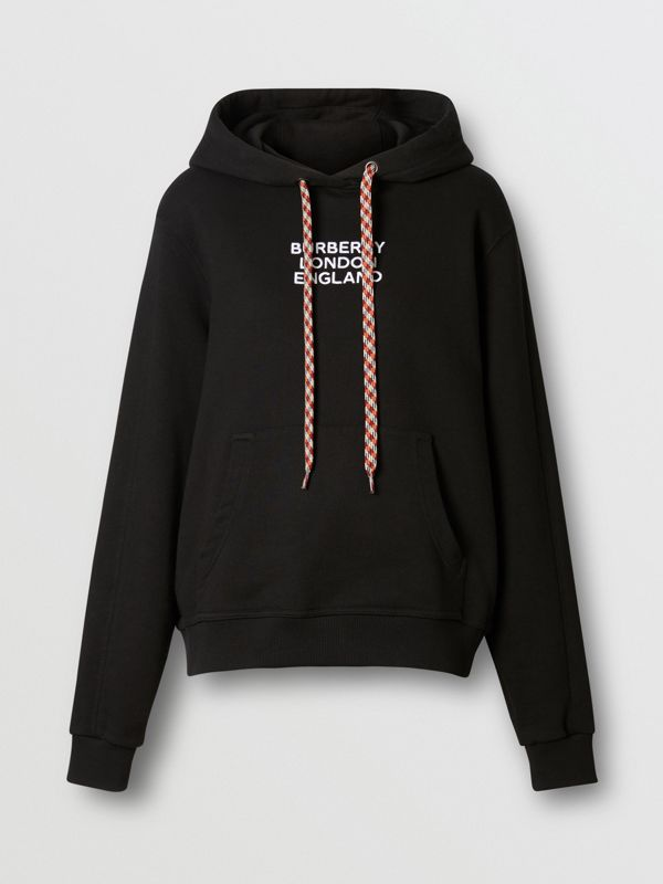 Embroidered Logo Cotton Oversized Hoodie in Black - Women | Burberry - cell image 3