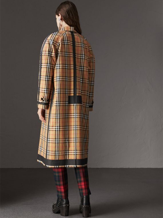 Reversible Vintage Check Gabardine Car Coat in Antique Yellow - Women | Burberry Australia - cell image 2