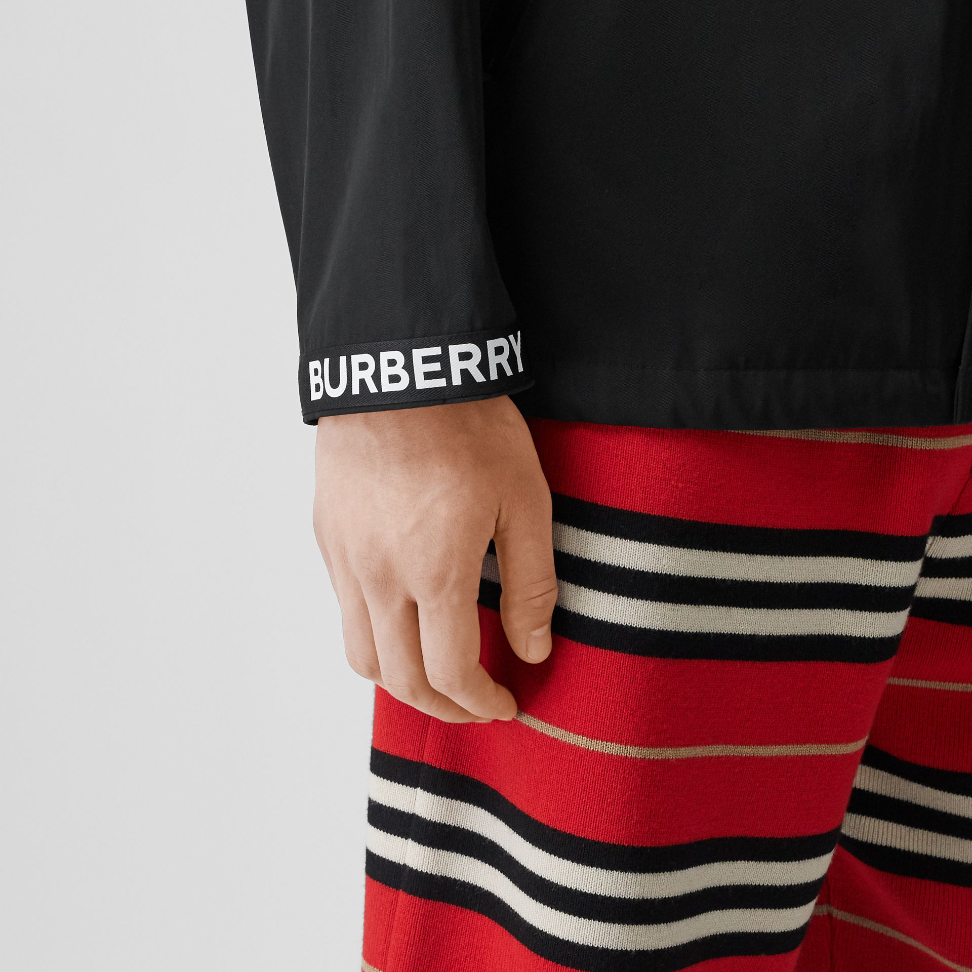 Logo Detail Nylon Cotton Twill Jacket in Black - Men | Burberry Australia - gallery image 4