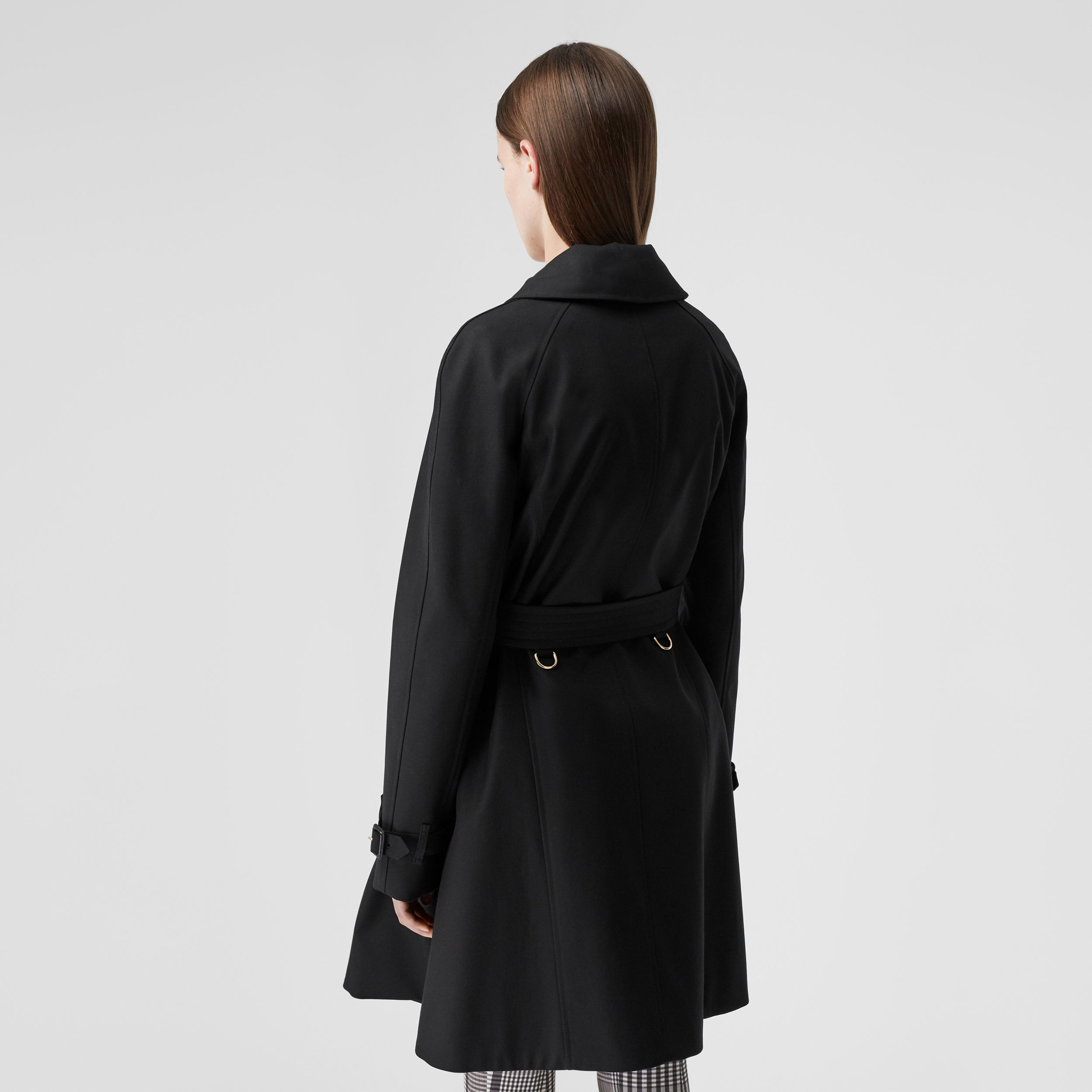 Cotton Gabardine Belted Swing Coat in Black - Women | Burberry United States - 3