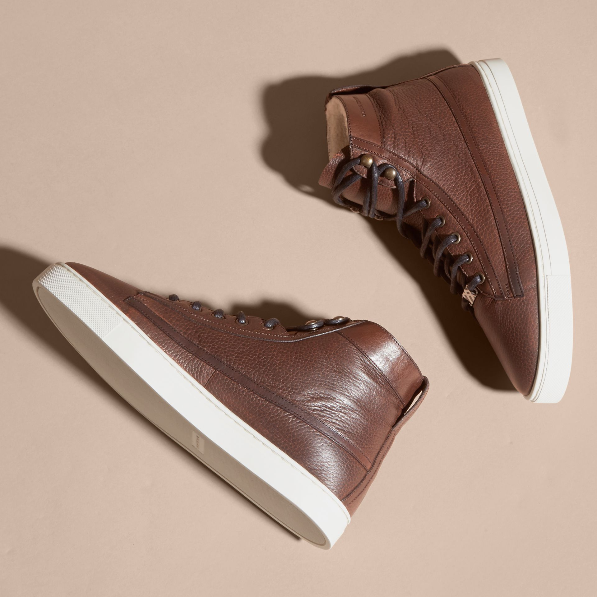 Bitter chocolate Shearling Lined Leather High-top Trainers - gallery image 3