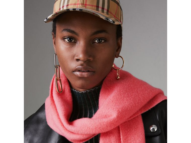 Embroidered Cashmere Fleece Scarf in Coral | Burberry United Kingdom - cell image 4