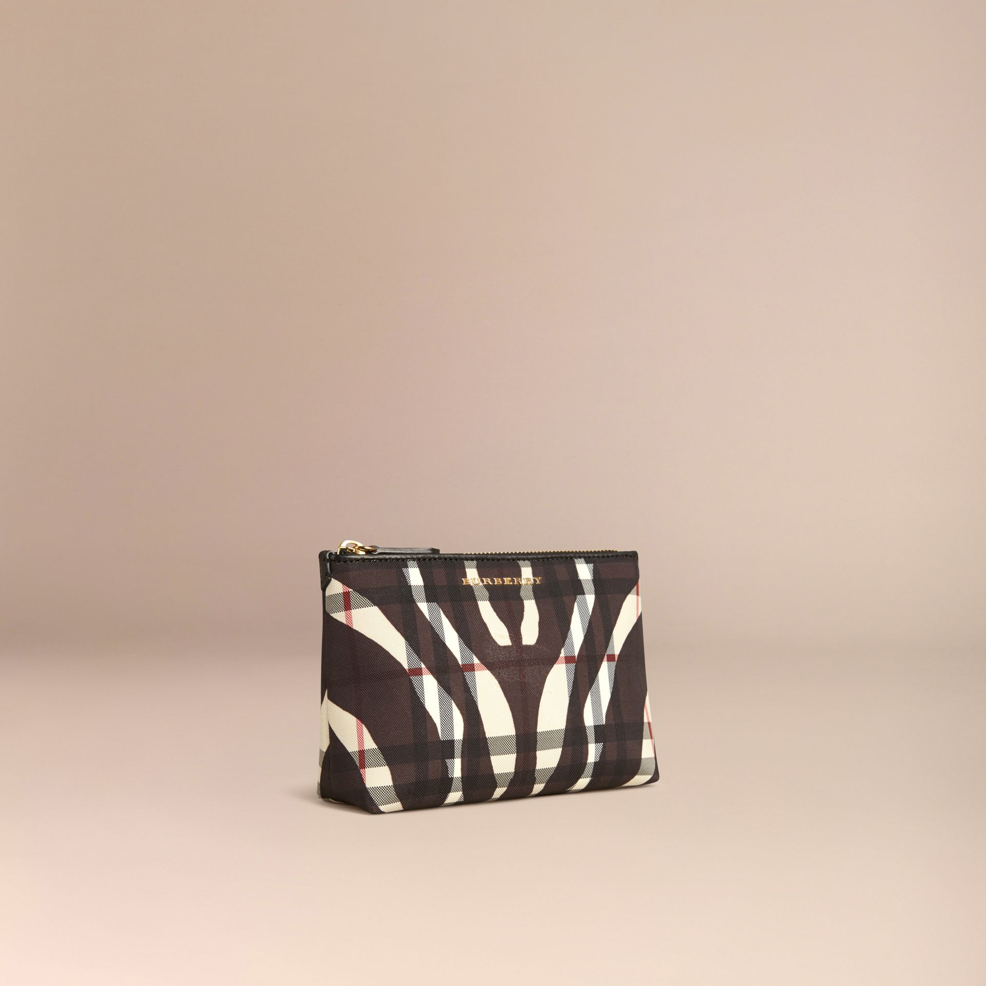 Black Medium Printed Horseferry Check Beauty Pouch - gallery image 3