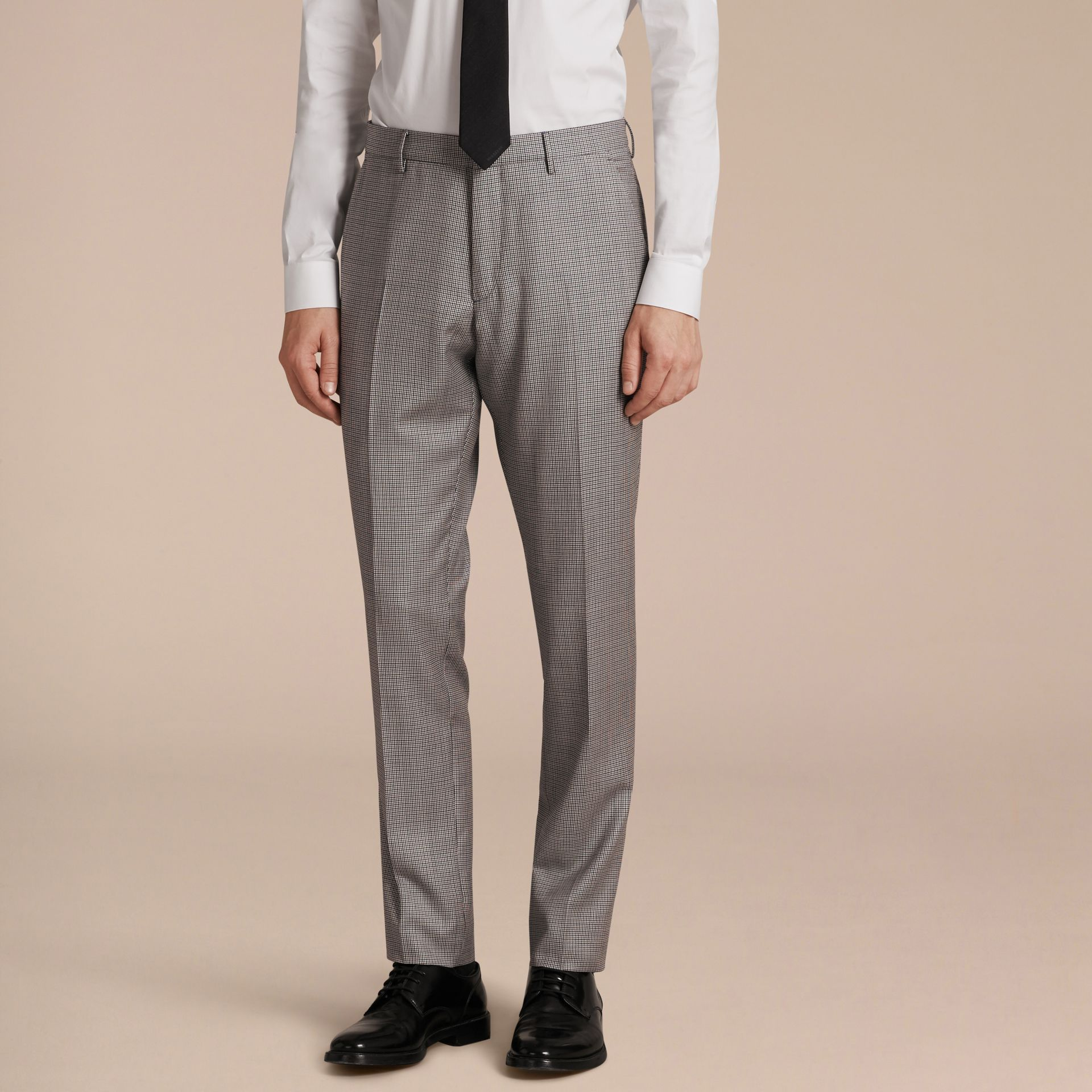 Slim Fit Houndstooth Wool Trousers in Light Blue - Men | Burberry - gallery image 6