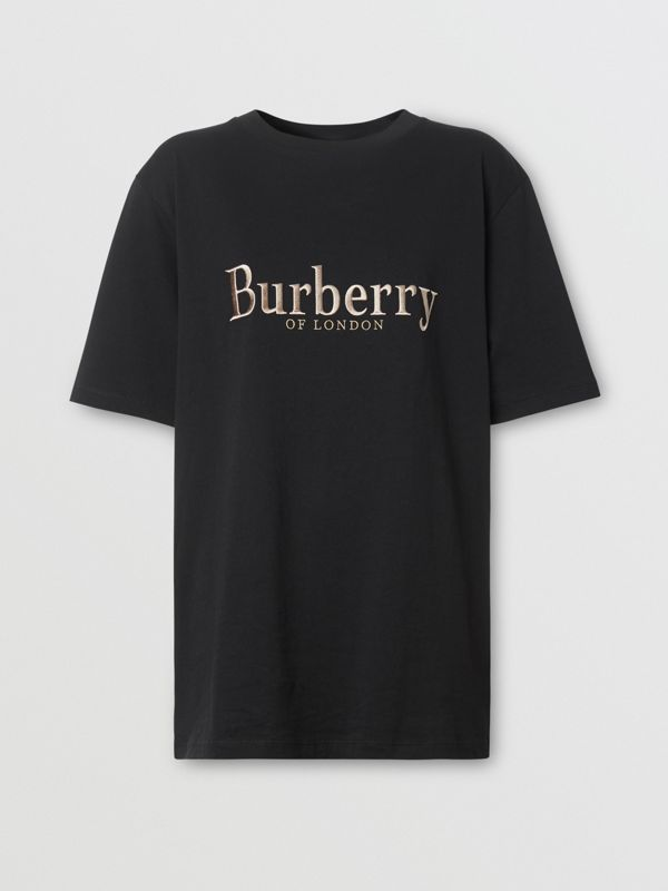 Embroidered Archive Logo Cotton T-shirt in Black - Women | Burberry - cell image 3