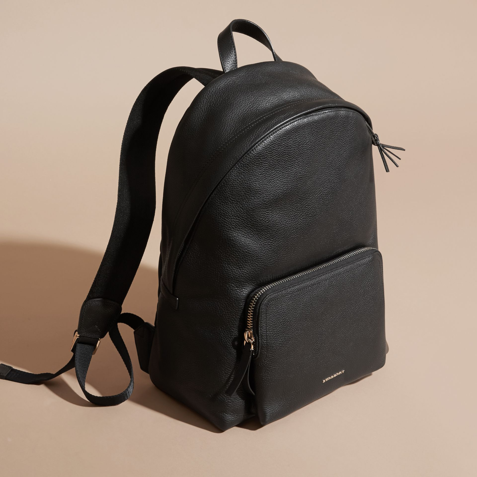 Black Grainy Leather Backpack - gallery image 7