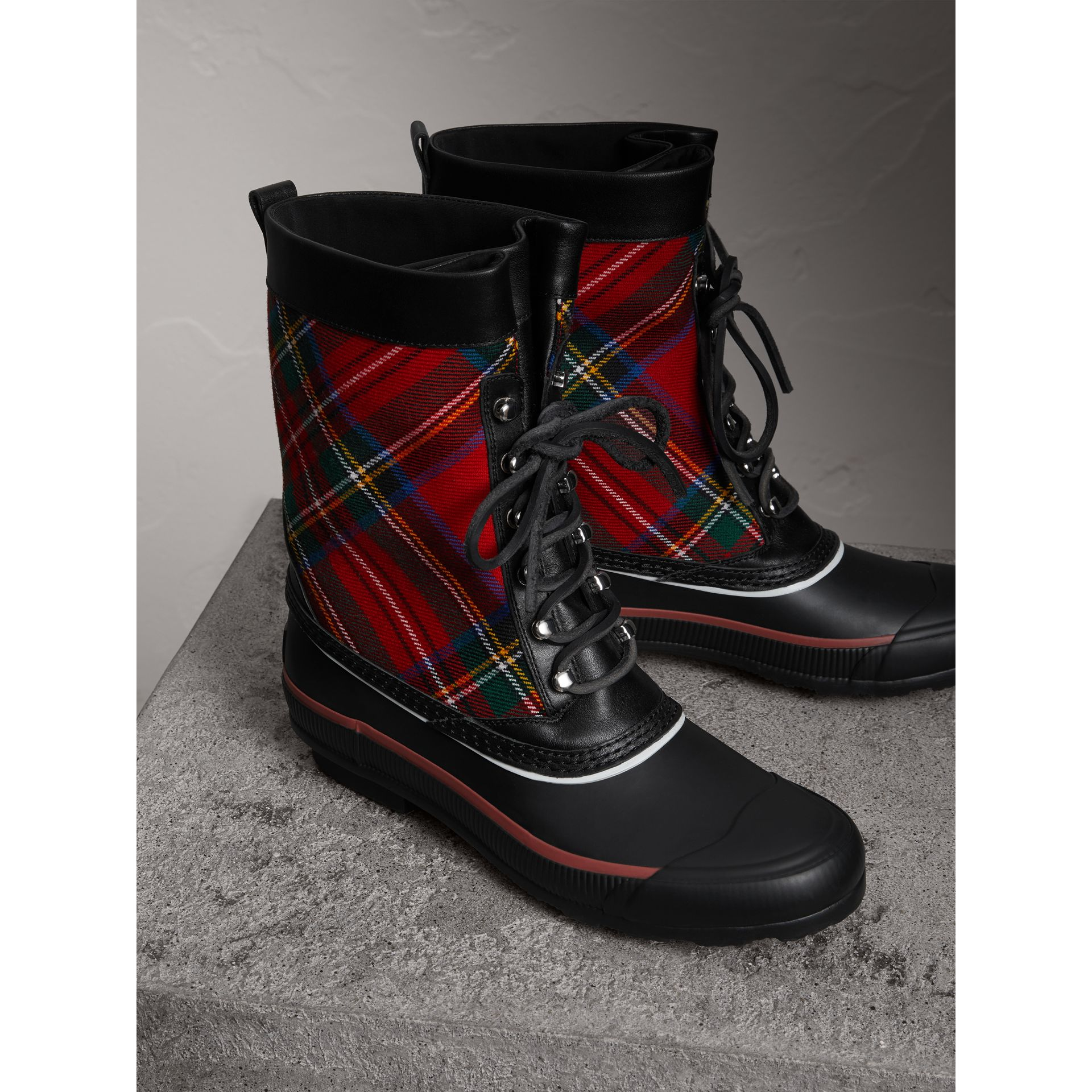 Lace-up Tartan Wool and Rubber Rain Boots in Bright Red - Women | Burberry - gallery image 3