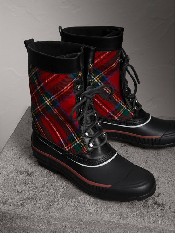 Lace-up Tartan Wool and Rubber Rain Boots in Bright Red - Women | Burberry - cell image 3
