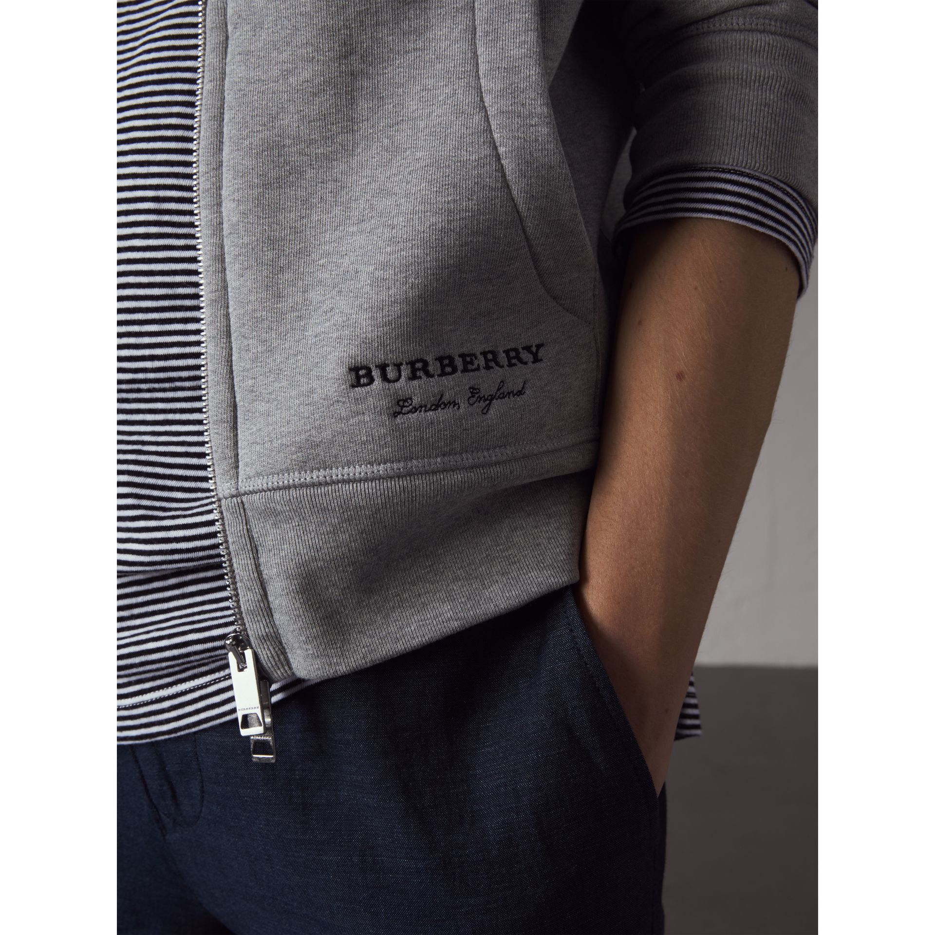 Pallas Helmet Cotton Blend Jersey Hooded Top in Grey Melange - Men | Burberry - gallery image 2