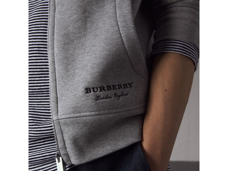 Pallas Helmet Cotton Blend Jersey Hooded Top in Grey Melange - Men | Burberry - cell image 1