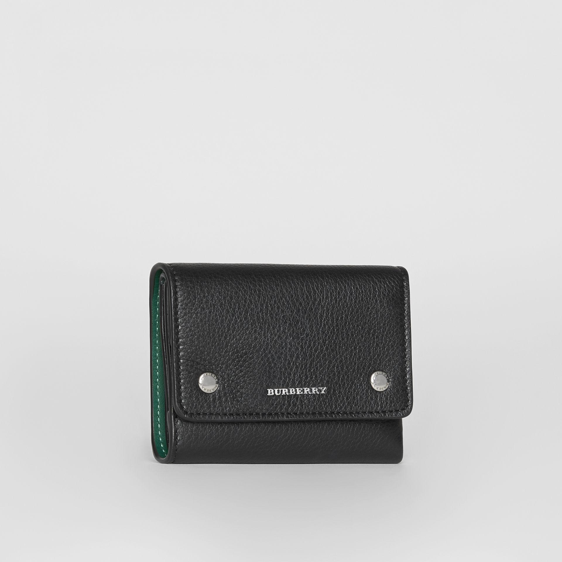Small Leather Folding Wallet in Black - Women | Burberry - gallery image 4