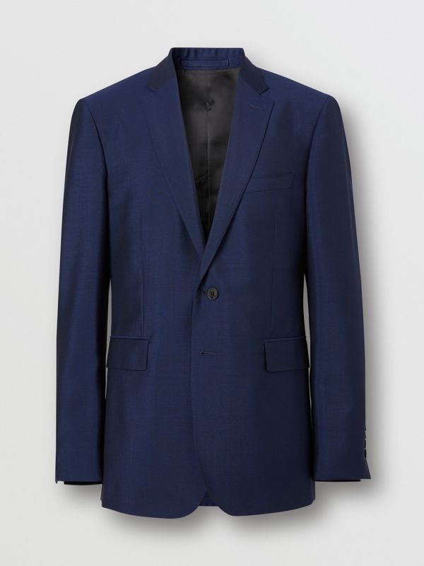 Slim Fit Wool Mohair Suit in Bright Navy - Men | Burberry United Kingdom - cell image 3