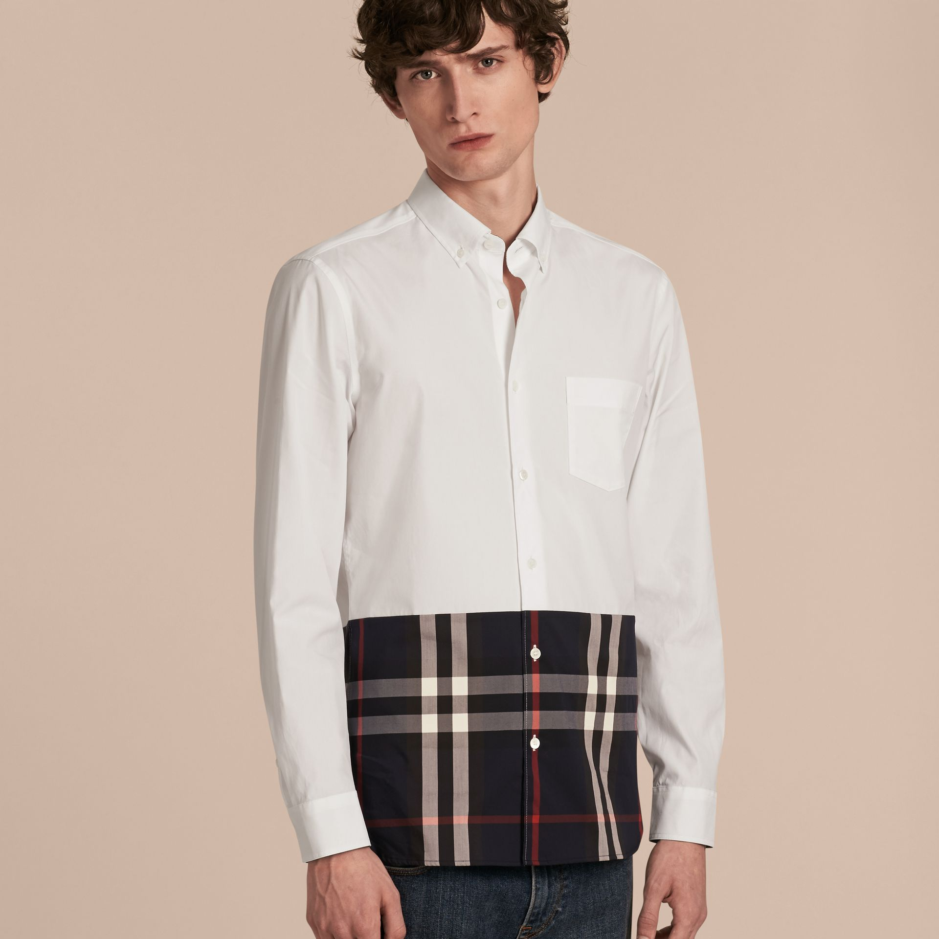 White Check Panel Stretch-Cotton Poplin Shirt White - gallery image 6