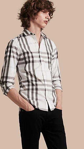Camicia in cotone stretch con motivo check