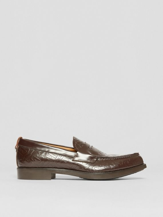 D-ring Detail Monogram Leather Loafers in Chocolate