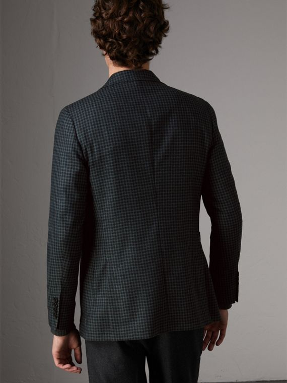 Soho Fit Micro Check Wool Flannel Tailored Jacket in Dark Grey Melange - Men | Burberry - cell image 2